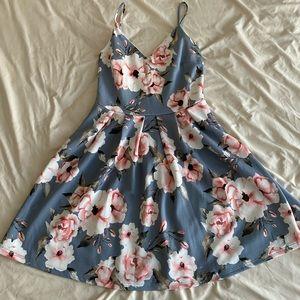 Slate blue and floral dress